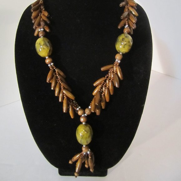 Unknown Jewelry - Long Earthy Boho Wood Bead Necklace ECLECTIC!